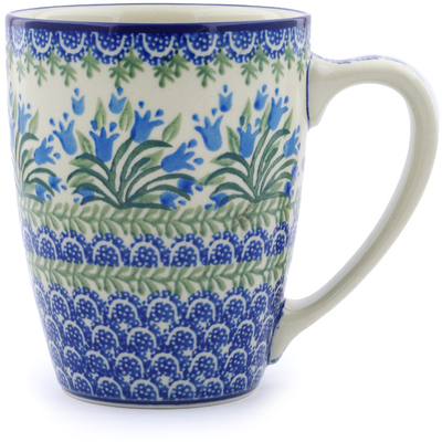 Polish Pottery Mug 22 oz Feathery Bluebells
