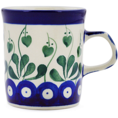 Polish Pottery Mug 5 oz Bleeding Heart Peacock