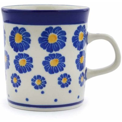Polish Pottery Mug 5 oz Blue Zinnia