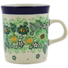 Polish Pottery Mug 5 oz Green Wreath UNIKAT