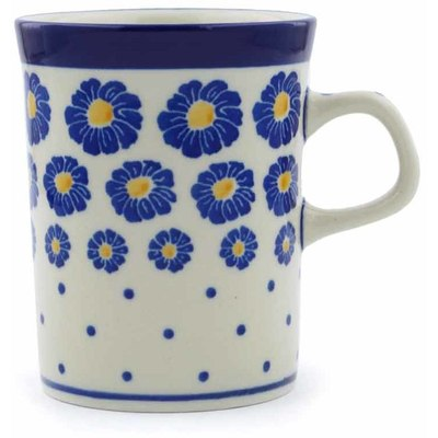 Polish Pottery Mug 8 oz Blue Zinnia