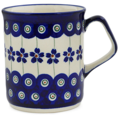 Polish Pottery Mug 8 oz Flowering Peacock