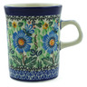 Polish Pottery Mug 8 oz Grecian Blooms UNIKAT