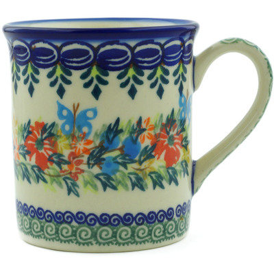 Polish Pottery Mug 8 oz Ring Of Flowers UNIKAT