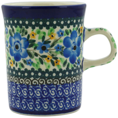 Polish Pottery Mug 8 oz Sky Blue Poppy UNIKAT