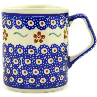 Polish Pottery Mug 8 oz Sweet Red Flower