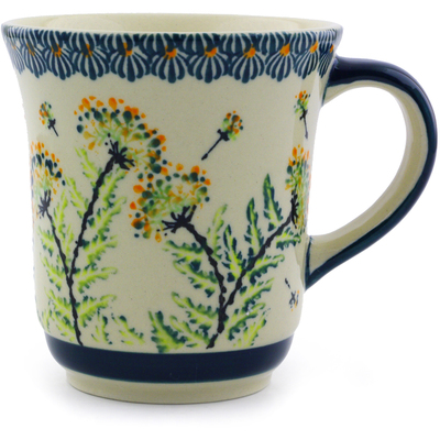 Polish Pottery Mug 9 oz Yellow Dandelions
