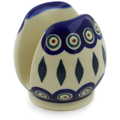 "Polish Pottery Napkin Holder 3"" Peacock"