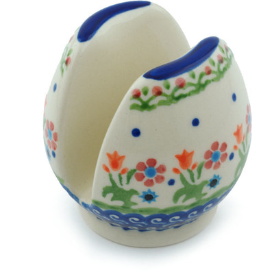 "Polish Pottery Napkin Holder 3"" Spring Flowers"