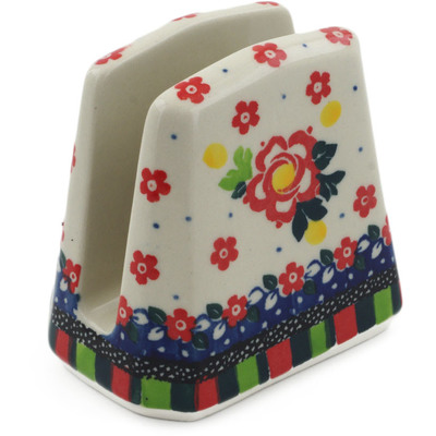 "Polish Pottery Napkin Holder 4"" Floral Puzzles UNIKAT"