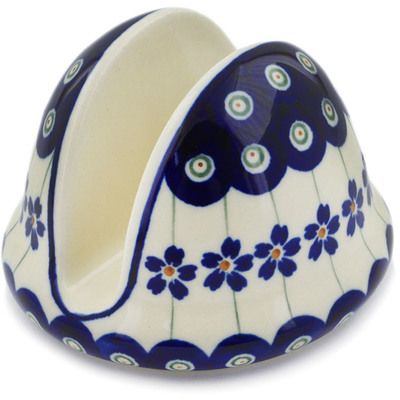 "Polish Pottery Napkin Holder 4"" Flowering Peacock"
