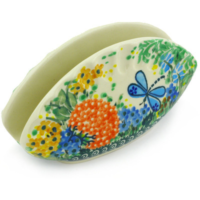 "Polish Pottery Napkin Holder 5"" Garden Delight UNIKAT"