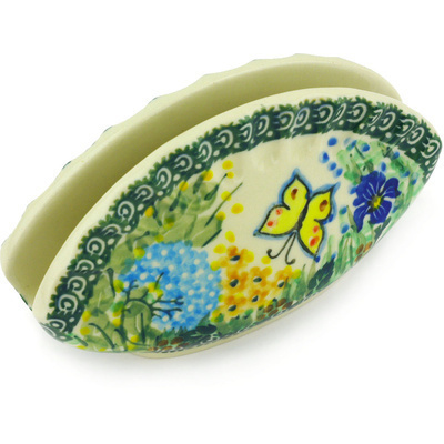 "Polish Pottery Napkin Holder 5"" Spring Garden UNIKAT"
