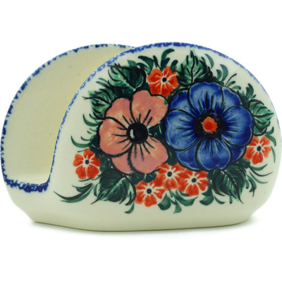 "Polish Pottery Napkin Holder 5"" Summertime Blues UNIKAT"