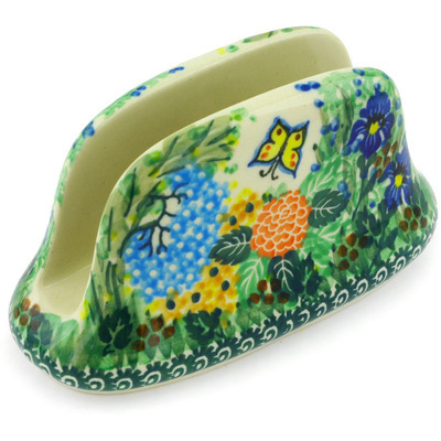 "Polish Pottery Napkin Holder 6"" Spring Garden UNIKAT"