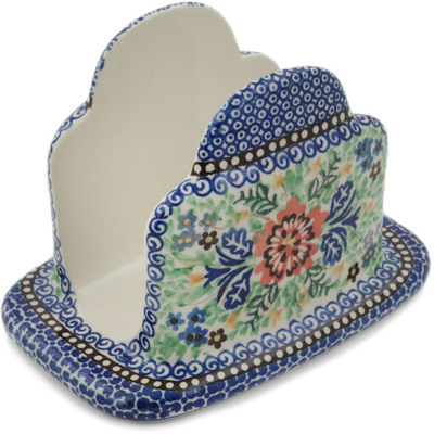 "Polish Pottery Napkin Holder 7"" Lovely Spring Day UNIKAT"