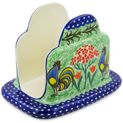"Polish Pottery Napkin Holder 7"" Rooster Dance UNIKAT"