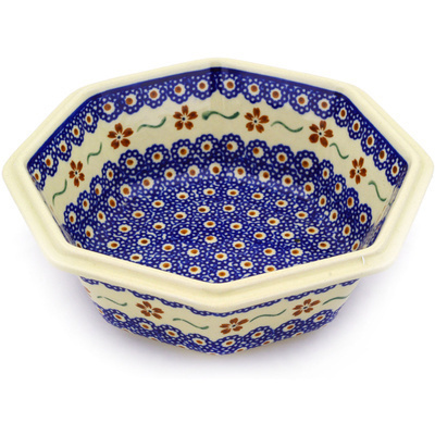 "Polish Pottery Octagonal Bowl 7"" Sweet Red Flower"
