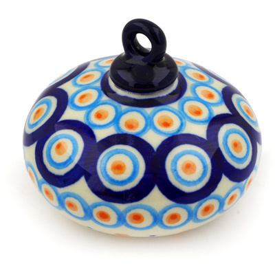 "Polish Pottery Ornament Christmas Ball 3"" Modern Peacock"