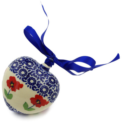 "Polish Pottery Ornament Heart 3"" Wind-blown Poppies"