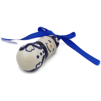 "Polish Pottery Ornament Snowman 4"" Peacock Eyes"
