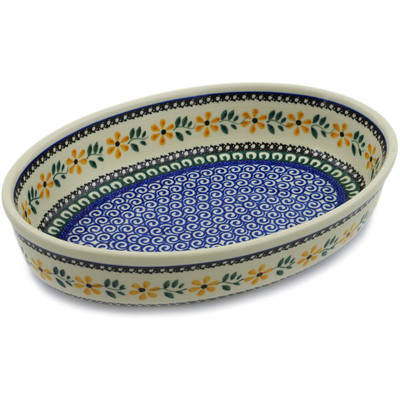 "Polish Pottery Oval Baker 11"" Yellow Daisy Swirls"