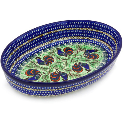 "Polish Pottery Oval Baker 12"" Rooster Row UNIKAT"