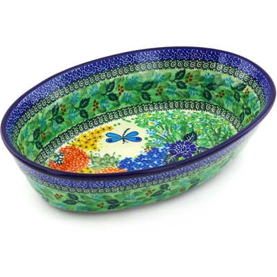 "Polish Pottery Oval Baker 13"" Garden Delight UNIKAT"