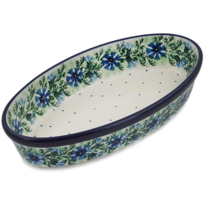 "Polish Pottery Oval Baker 8"" Blue Bell Wreath"