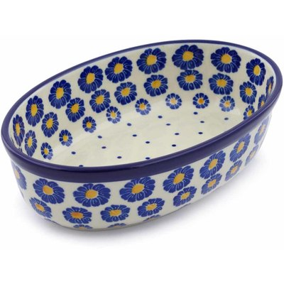 "Polish Pottery Oval Baker 8"" Blue Zinnia"