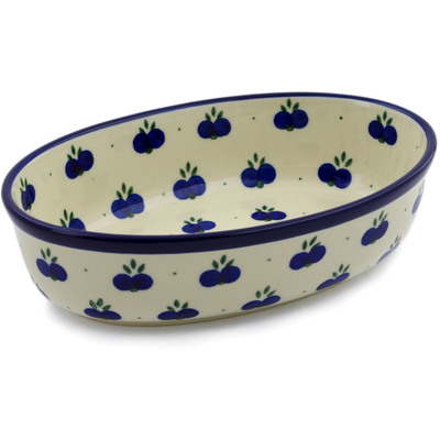 "Polish Pottery Oval Baker 8"" Wild Blueberry"