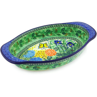 "Polish Pottery Oval Baker with Handles 13"" Spring Garden UNIKAT"