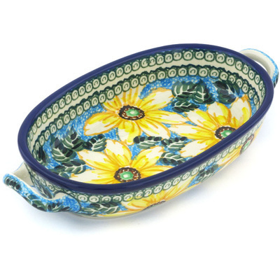 Polish Pottery Oval Baker with Handles 8-inch Black Eyed Susan UNIKAT