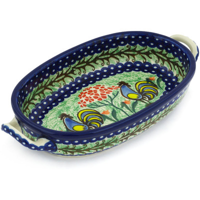 Polish Pottery Oval Baker with Handles 8-inch Rooster Dance UNIKAT