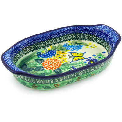 "Polish Pottery Oval Baker with Handles 8"" Spring Garden UNIKAT"
