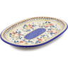 "Polish Pottery Oval Platter 11"" Red Anemone Meadow UNIKAT"