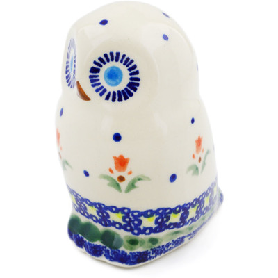 "Polish Pottery Owl Figurine 4"" Cocentric Tulips"