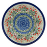 "Polish Pottery Pasta Bowl 8"" Crimson Bells"