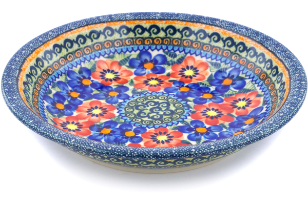 Polish Pottery Pasta Bowl 9 Blue And Red Poppies Unikat