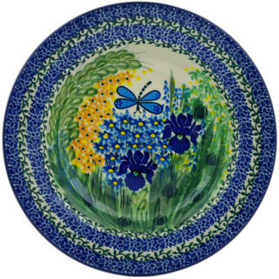 "Polish Pottery Pasta Bowl 9"" Dragonfly Bounty UNIKAT"