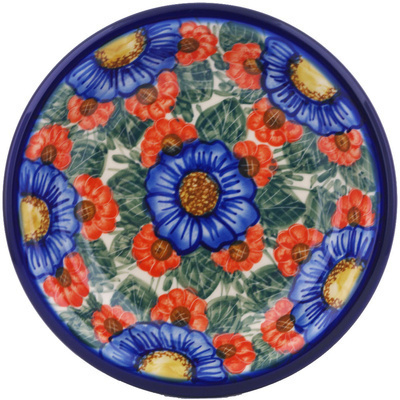 "Polish Pottery Pasta Bowl 9"" Flowers In Bloom UNIKAT"