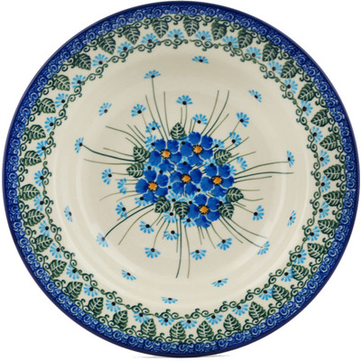 "Polish Pottery Pasta Bowl 9"" Forget Me Not"