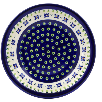 "Polish Pottery Pasta Bowl 9"" Green Gingham Peacock"