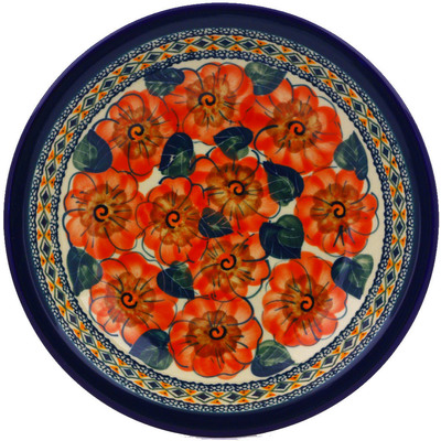 "Polish Pottery Pasta Bowl 9"" Peach Poppies UNIKAT"