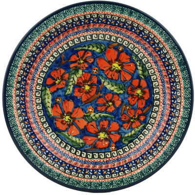 "Polish Pottery Pasta Bowl 9"" Poppies UNIKAT"