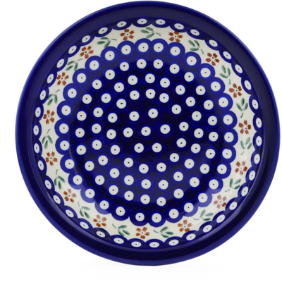 "Polish Pottery Pasta Bowl 9"" Red Daisy Peacock"