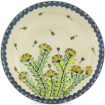 "Polish Pottery Pasta Bowl 9"" Yellow Dandelions"