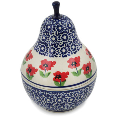"Polish Pottery Pear Shaped Jar 6"" Wind-blown Poppies"