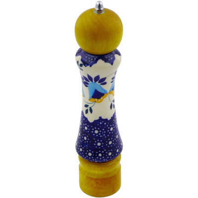 "Polish Pottery Pepper Grinder 8"" Country Sunrise UNIKAT"