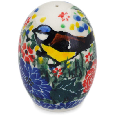 "Polish Pottery Pepper Shaker 2"" Garden Bird UNIKAT"